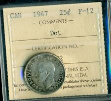 1947 Dot Canada 25 Cent Silver, King George VI, ICCS Certified F-12