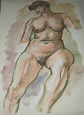 Saul Swarz-Original Watercolor Female Nude signed and dated 1945
