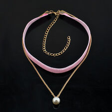 Cute Velvet Chain Pearl Pendant Choker Collar Necklace Retro Gothic Jewelry Pink