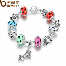 18cm Bamoer European Silver Horse Charms Bracelets with Colorful Bead Christmas