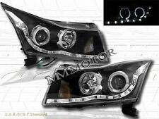 11-14 CHEVY CRUZE DUAL HALO ANGEL EYE LED BLACK PROJECTOR HEADLIGHTS