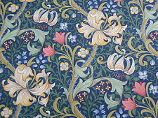 William Morris Curtain Fabric 'Golden Lily' 2.4 METRES  Midnight/Green Linen