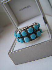 FABULOUS BIG LARGE OVERSIZED STERLING SILVER TURQUOISE BAND RING SIZE Q RARE
