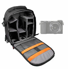 Black/Orange Rucksack for Sony Alpha A6000 w/ Multiple Compartments