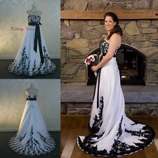 Plus Size Wedding Dresses A-Line Gothic Black and White Bridal Gowns Custom 4-26