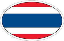 THAILAND FLAG IN AN OVAL VINYL STICKER - South East Asia / Flag 16cm x 9cm