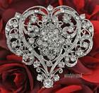 NEW CLEAR RHINESTONE CRYSTAL HEART FLOWER BRIDAL WEDDING FAVOR GIFT BROOCH PIN
