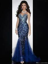 New Mermaid Sweetheart Evening Dress Open Back Crystal Beaded Sequined Prom Gown