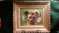 "Framed Oil on Artist Board Painting of Pansies, Signed Anita Friend 15"" x 13"""