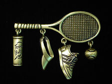 """JJ"" Jonette Jewelry Bronze Pewter 'TENNIS Racket with Charms' Pin"