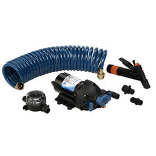 Jabsco ParMax 4 GPM Marine Boat Washdown Pump Kit 12V 60 PSI with 25ft Hose Coil