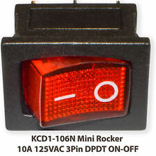 (5 PCs) KCD1-106N Mini Rocker RED With Lamp 10A 125VAC 3Pin SPST ON-OFF Boat