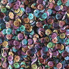 6mm Cup Sequins Black Rainbow Iris Shiny Opaque. Made in USA