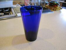 VINTAGE LIBBEY FLARE DARK BLUE COBALT TALL GLASS TUMBLER 5-7/8""