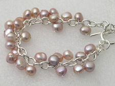 Genuine Pink Purple Pearl White Gold Plated Link Clasp Bangle Bracelet