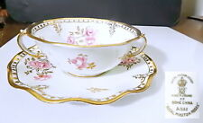Royal Crown Derby ROYAL PINXTON ROSES Cream Soup & Saucer(s) Ruffled Edge, EXC !