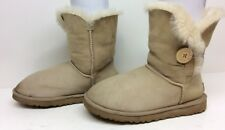 #15 VTG WOMENS UGG AUSTRALIA BAILEY BUT WINTER SUEDE SHEEPSKIN IVORY BOOT SIZE 6