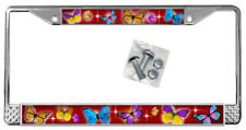Butterflies Dark Red Backdrop License Plate Frame Gifts Polished Metal TXT