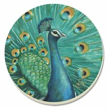 Counter Art Majestic Beauty Peacock Round Absorbent Coasters Cork Back Set of 4