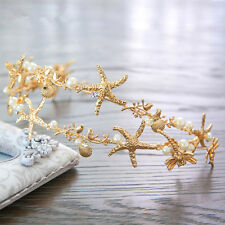 Wedding Bridal Gold Tiara Mermaid Starfish Shell Beach Headband Hair Accessories