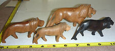 Lot 4 Vtg Hand-Carved WOOD LION Figurines - African. TAKE-a-LOOK  Very NICE !!!
