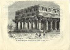 Stampa antica JAIPUR Portico di Amber Rajasthan India 1881 Old antique print