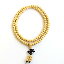6mm White Wood Tibet Buddhist 108 Prayer Beads Mala Necklace