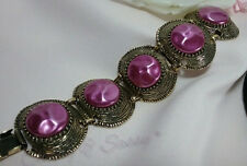 Vintage Antique Gold Selro Selini Pink Baroque Bead Chunky Panel Bracelet