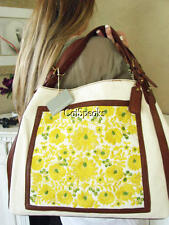 NWT ISABELLA FIORE LINEN & LEATHER EMBROIDERED LARGE TOTE BAG~NATURAL