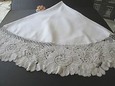 ANTIQUE ROUND WHITE LINEN TABLECLOTH WITH HAND MADE LACE BORDER..... 72""