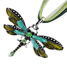 Dragonfly Charms Pendent Rhinestone Inlay Gemtone Chain Necklace Fashion Women