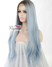 Synthetic Hair Lace Front Wig Ombre Dark Roots&Light Blue Long Straight Wig 24""