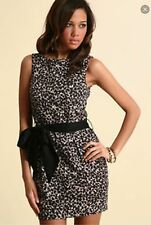ASOS BLACK LEOPARD PRINT DRESS SIZE 6 BELTED WAIST