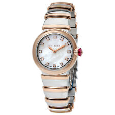 Bvlgari LVCEA White Mother of Pearl Diamond Dial Stainless Steel & 18kt Pink