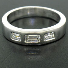 Men's Solid Platinum 0.90ctw 3 Stone E VVS Emerald Cut Diamond Wedding Band Ring