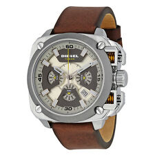 BRAND NEW DIESEL DZ7343 BAMF GRAY DIAL BROWN LEATHER CHRONOGRAPH MEN'S WATCH