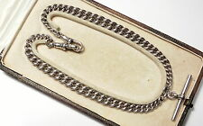 Antique Solid Silver Albert T-bar Watch Chain Necklace Bham 1919 44.6 GRAMS!!!!