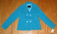 Women's BKE Outerwear Peacoat Jacket NWT Size L Turquoise Double Breasted Cord