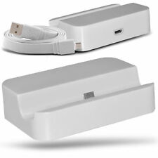White Micro USB Desktop Charging Dock & Data Cable For Samsung Galaxy S3