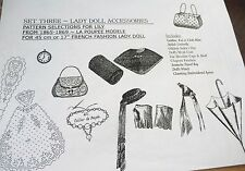 "LA POUPEE MODELE  ""LADY DOLL ACCESSORIES PATTERNS-SET THREE"" for 14""-17"" DOLLS"