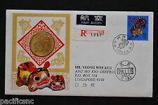 China PRC T107 Year of Tiger Set/Bronze Medal on FDC - Registered to Singapore