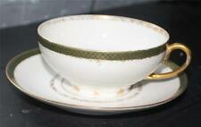 Vintage CH FIELD HAVILAND LIMOGES Bone China Green Gold Filigree Band Cup&Saucer