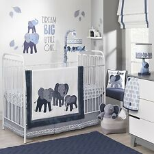 Lambs & Ivy 4 Piece Baby Nursery Crib Bedding Set Indigo with Bumper NEW 2017