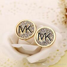 New Michael Kors MK Logo Earrings Stud GOLD Circular circle ** Lot