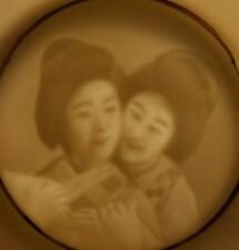 RARE Antique Japanese Hand Painted DOUBLE Geisha Girls Lithophane Tea Cup Saucer