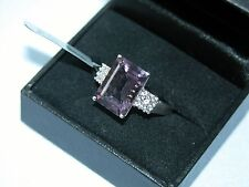 LOT 437 AMETHYST + WHITE TOPAZ SOLID STERLING SILVER RING SIZE R 1/2 -RRP £311