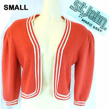 late 70s VINTAGE ST. JOHN SWEATER CARDIGAN Salmon SANTANA KNIT Long Slv Sz S