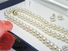 """7-8MM White Freshwater Cultured Pearl Necklace 18"""" + Earring Set"""