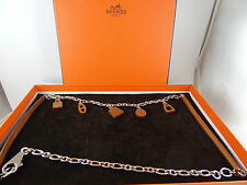 Authentic Hermes SS and Leather Amulet Necklace /Belt