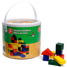 KIDS CHILDRENS 50 PC WOODEN BLOCKS BUILDING CONSTRUCTION TOY IN BUCKET TUB SET